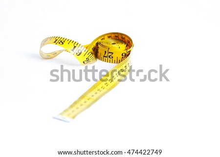 Centimeter of yellow color from fabric for measurement of length