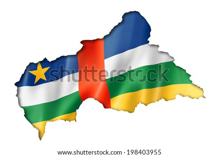 Central Africa flag map, three dimensional render, isolated on white - stock photo