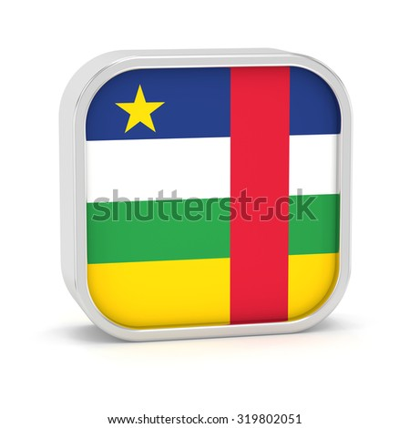 Central Africa Republic flag sign on a white background. Part of a series. - stock photo