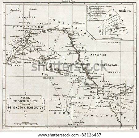 Central African itinerary from Sokoto to Timbuktu, old map with Timbuktu insert plan. Designed by Vuellemin after Petermann, engraved by Erhard. Published on Le Tour du Monde, Paris, 1860 - stock photo