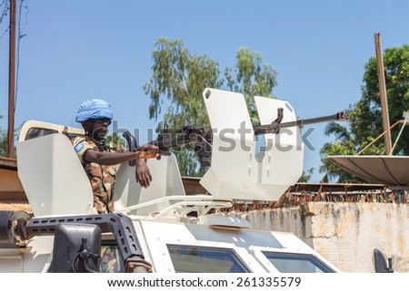 Central African Republic-august 21, peace keeper conduct patrol on August 21, 2014 in Bangui, Central African Republic