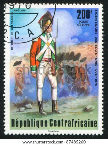 CENTRAL AFRICAN REPUBLIC - CIRCA 1976: A stamp printed by Central African Republic, shows British grenadier, circa 1976