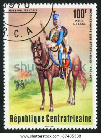 CENTRAL AFRICAN REPUBLIC - CIRCA 1976: A stamp printed by Central African Republic, shows French Hussar, circa 1976