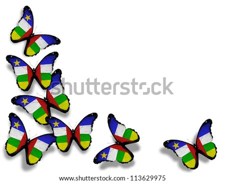 Central African Republic flag butterflies, isolated on white background - stock photo