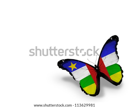 Central African Republic flag butterfly, isolated on white background