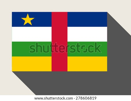 Central African Republic flag in flat web design style. - stock photo