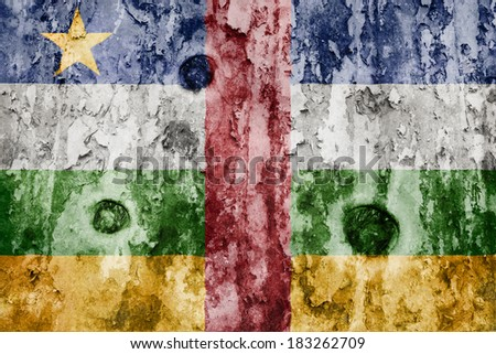 Central African Republic flag on a weathered grunge background - stock photo