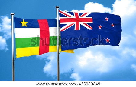 Central african republic flag with New Zealand flag, 3D renderin