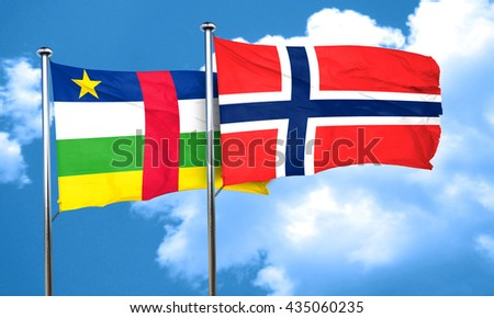 Central african republic flag with Norway flag, 3D rendering
