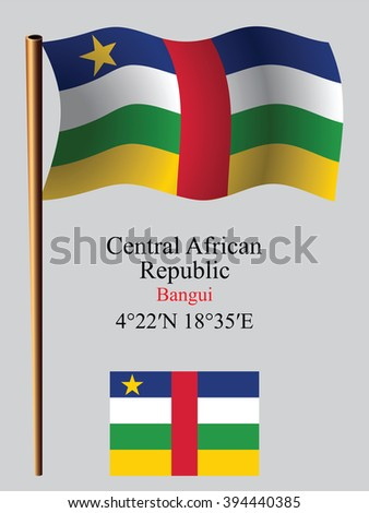 central african republic wavy flag and coordinates against gray background, art illustration, image contains transparency