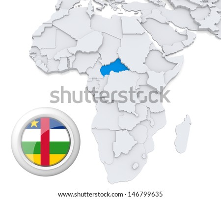 Central African republic with national flag - stock photo