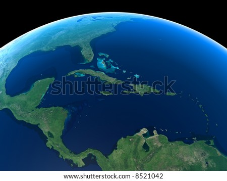 Central America and the Caribbean as seen from Space - stock photo