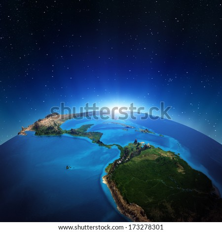 Central America from space. Elements of this image furnished by NASA - stock photo