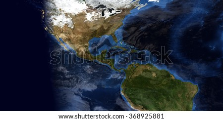 Central America - Map Composition (Elements of this image furnished by NASA)