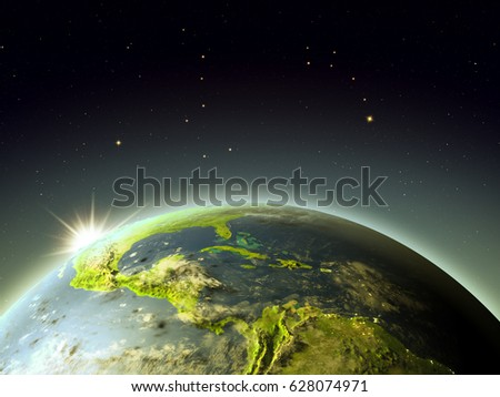 Central America with sunrise from Earth's orbit. 3D illustration with detailed planet surface, atmosphere and city lights. Elements of this image furnished by NASA.
