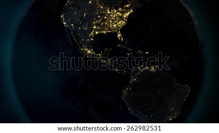 Central American Night (Elements of this image furnished by NASA) - stock photo