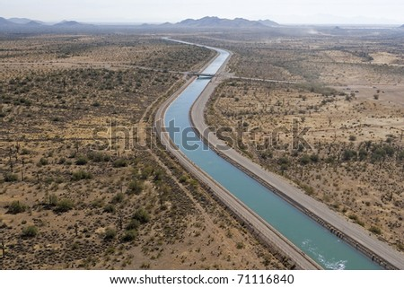 Central Arizona Project (CAP), is designed to bring about 1.5 million acre-feet of Colorado River water per year to Pima, Pinal and Maricopa counties. - stock photo