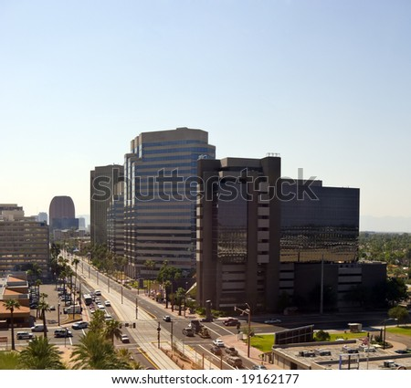 Central Avenue with Office Buildings in downtown of Phoenix, AZ - stock photo
