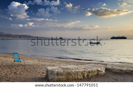 Central beach of Eilat - famous resort and recreation city in Israel - stock photo