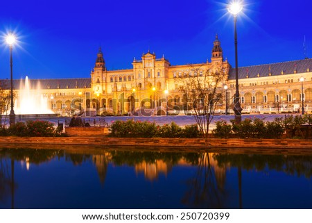 central building and reflection at  Plaza de Espana. Seville, Spain  - stock photo