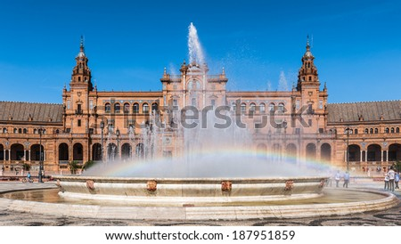 Central building and the fountain at the Plaza de Espana in Seville, Andalusia, Spain. It's example of the Renaissance Revival style in Spanish architecture.