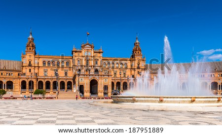 Central building and the fountain at the Plaza de Espana in Seville, Andalusia, Spain. It's example of the Renaissance Revival style in Spanish architecture. - stock photo