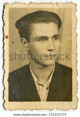 CENTRAL BULGARIA, BULGARIA - CIRCA 1940: Plain portrait of an unknown young man - Note: slight blurriness, better at smaller sizes - circa 1940