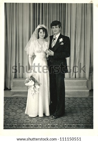 CENTRAL BULGARIA, BULGARIA,- CIRCA 1975: the area Plovdiv - formal portrait of the newlyweds - circa 1975 - stock photo
