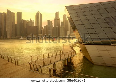 Central business district, Marina Bay, Singapore - stock photo