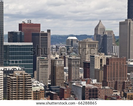 Central city area of Pittsburgh Pennsylvania, USA. - stock photo