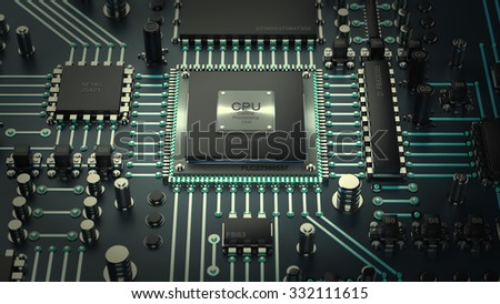 Central Computer Processors CPU concept. technology background. High resolution 3d render - stock photo