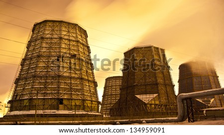 Central Electric Heat CHP in winter - stock photo