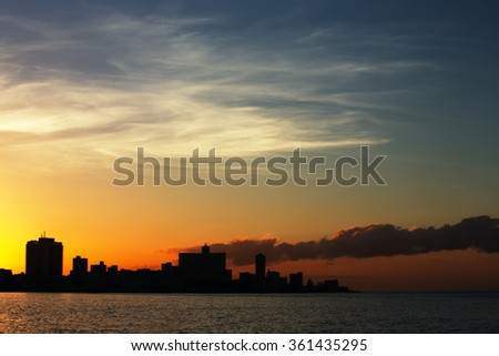 Central embankment Havana at sunset - stock photo