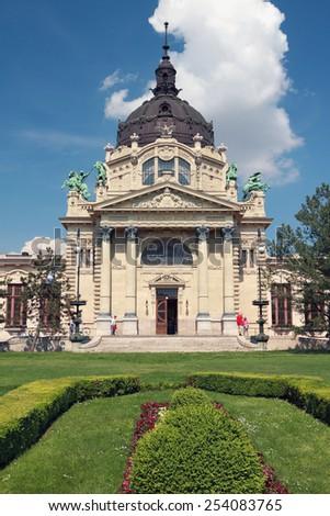 Central entrance to Secheni swimming bath, Budapest, Hungary - stock photo