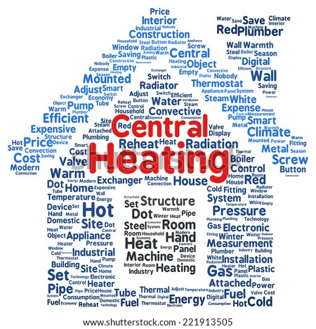 Central heating word cloud shape concept - stock photo