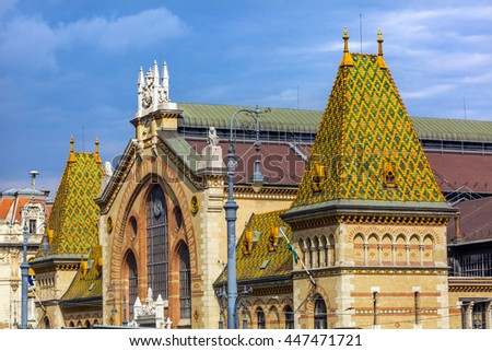 Central Market Hall Budapest Hungary.  Designed by Gustav Eiffel in the late 1800s.  Old Hungarian market.  All types of food, handicrafts and other products are sold at the market. - stock photo