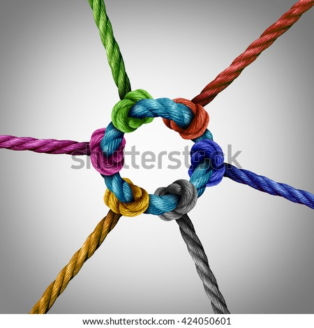 Central network connection business concept as a group of diverse ropes connected to a circle central rope as a network metaphor for connectivity and linking to a centralized support structure. - stock photo
