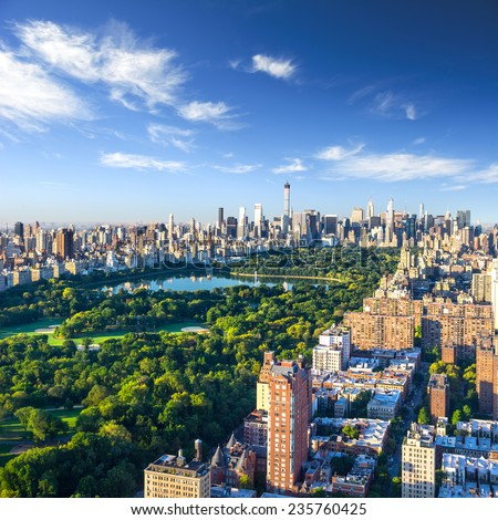 Central Park aerial view, Manhattan, New York; - stock photo