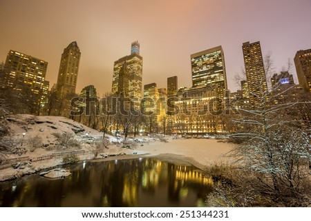 Central Park after the Snow Storm Linus in Manhattan, New York