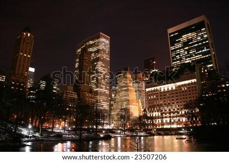Central Park and manhattan skyline at night, New York City - stock photo