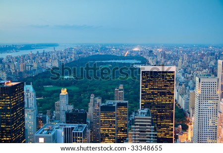 Central Park at dusk in New York city, USA. - stock photo
