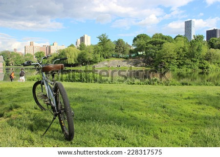 Central Park bike break with a view - stock photo