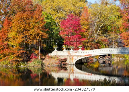 Central Park Bow Bridge in Fall - New York City - stock photo