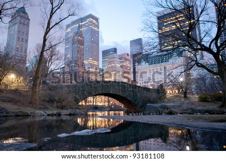 Central Park bridge at dawn in New York. - stock photo