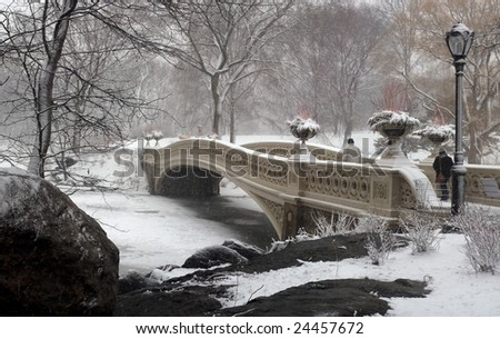 central park during a snow storm at the bow bridge