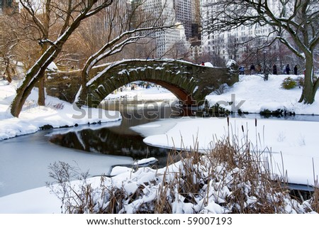 Central Park. Gapstow Bridge covered with snow