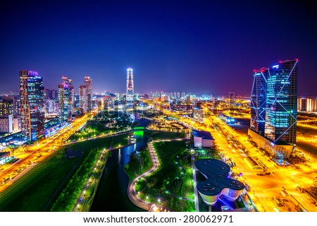 Central Park in Incheon, South Korea. Central Park is the green space plan,inspired by NYC. - stock photo