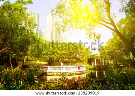 Central Park Kowloon. Hong Kong. China. Sunset. - stock photo