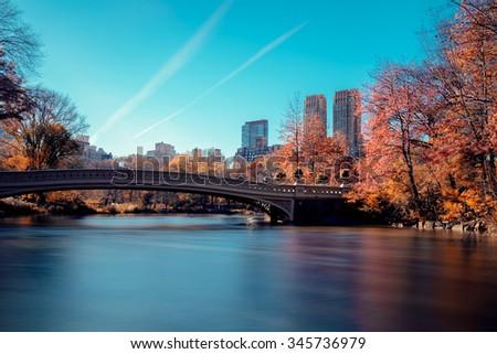 Central park new york autumn - stock photo