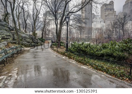 Central Park, New York City after rain storm on sidewalk - stock photo